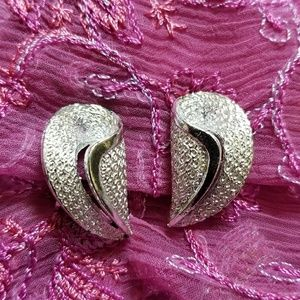 Vintage Coro clip earrings silver tone textured